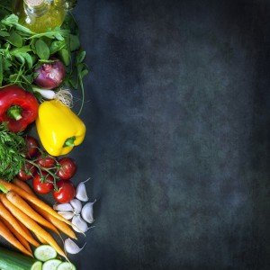Food Background on Dark Slate